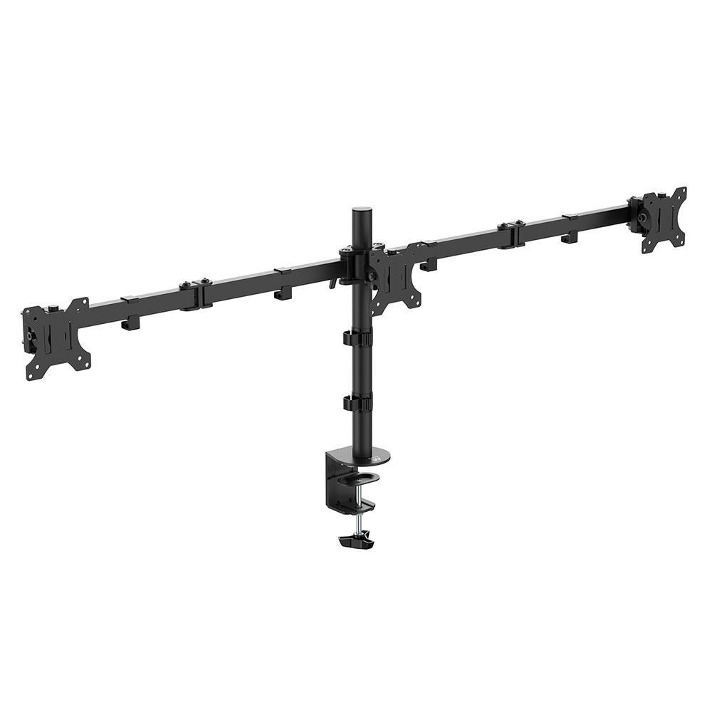 Стойка за 3 мониторa Ewent EW1513, за бюро, Регулируема, 27, 3x7 кг, Черен