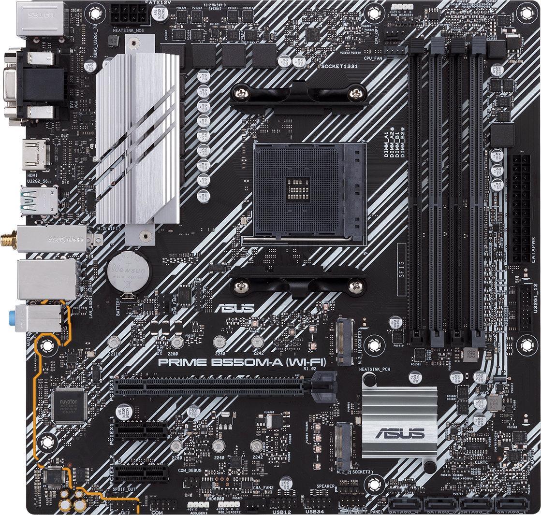 Дънна платка ASUS Prime B550M-A (WI-FI) socket AM4, 4xDDR4, Aura Sync, PCIe 4.0, Dual M.2, WiFi 6