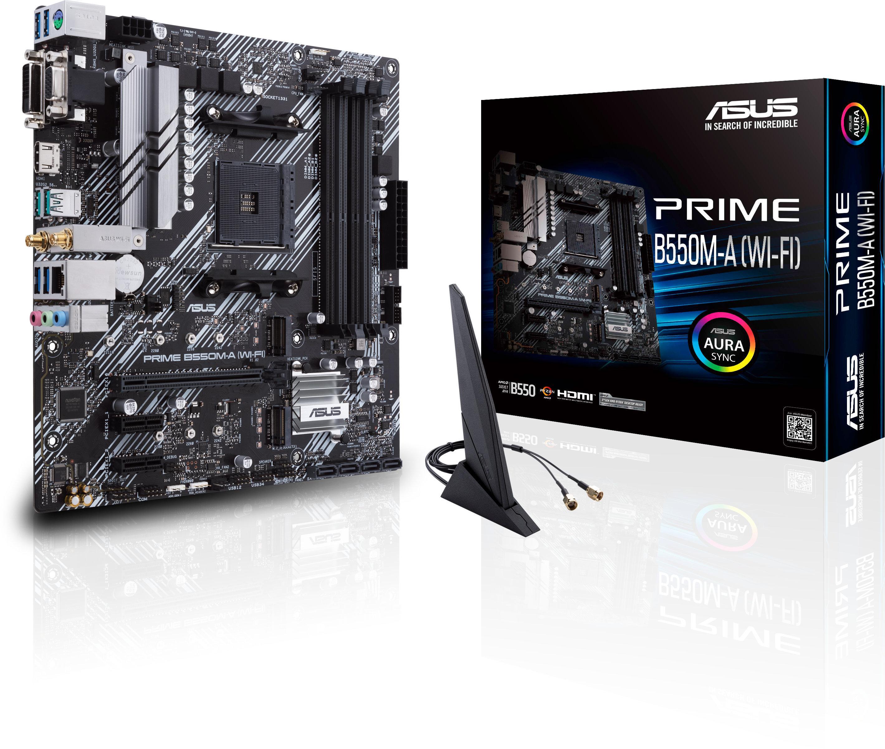 Дънна платка ASUS Prime B550M-A (WI-FI) socket AM4, 4xDDR4, Aura Sync, PCIe 4.0, Dual M.2, WiFi 6-2
