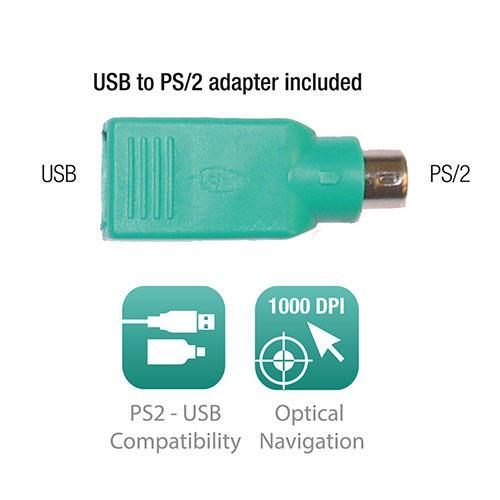 Оптична мишка Ewent EW3154, Жична, 1000 dpi, преходник USB-PS/2, Черна-3