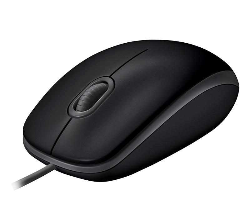 Жична оптична мишка LOGITECH B110 Silent, Черен, USB-3