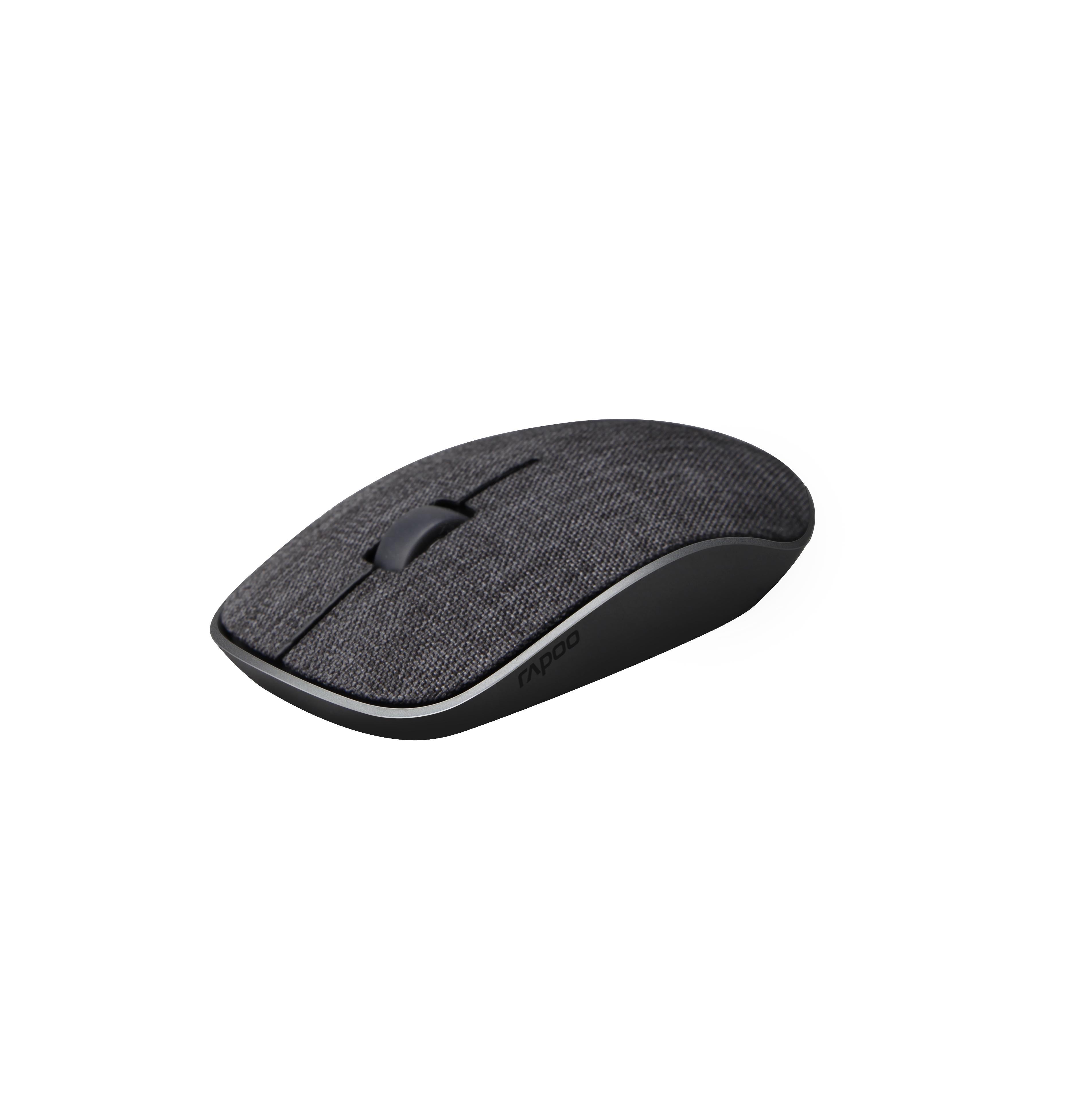 Безжична оптична мишка RAPOO 200 Plus multi-mode,черна, с покритие от плат-2