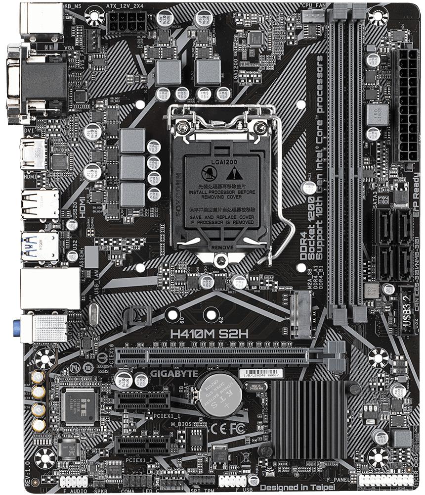 Дънна платка GIGABYTE H410M-S2H 1.0, Socket 1200 (400 Series), 2 x DDR4-2