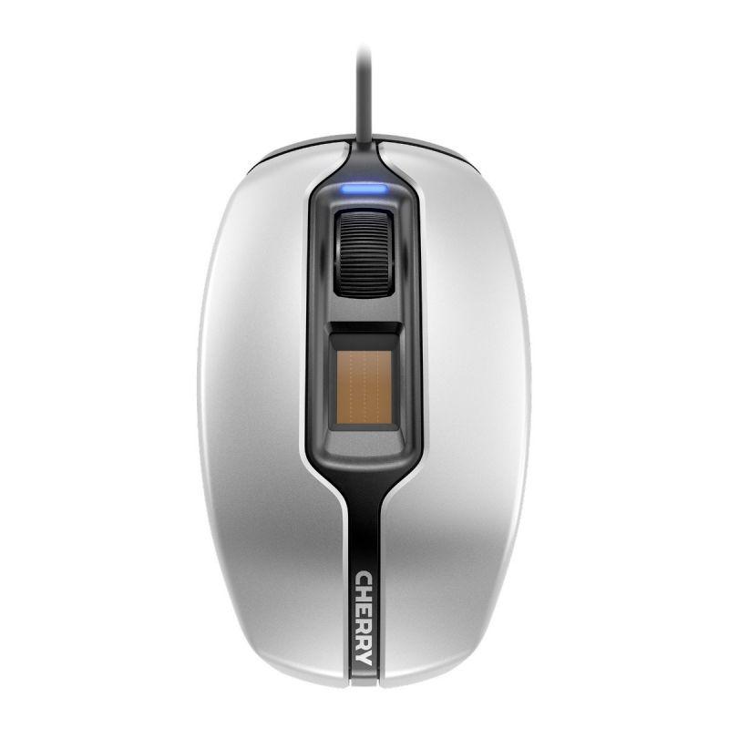 Жична мишка CHERRY MC 4900, Fingerprint, USB, Сребрист/Бял
