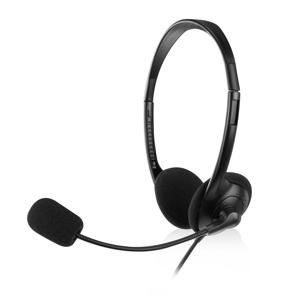 Слушалки Ewent EW3563, Микрофон, 2x 3.5mm жак, 2.1м кабел, Черни