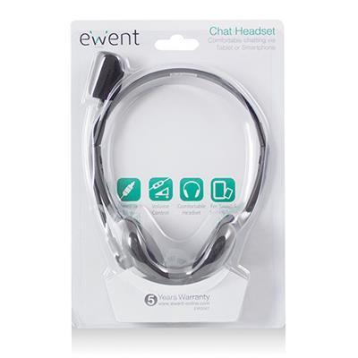 Слушалки Ewent EW3567, Микрофон, 1x 3.5mm жак, 1.8м кабел, Черни-2