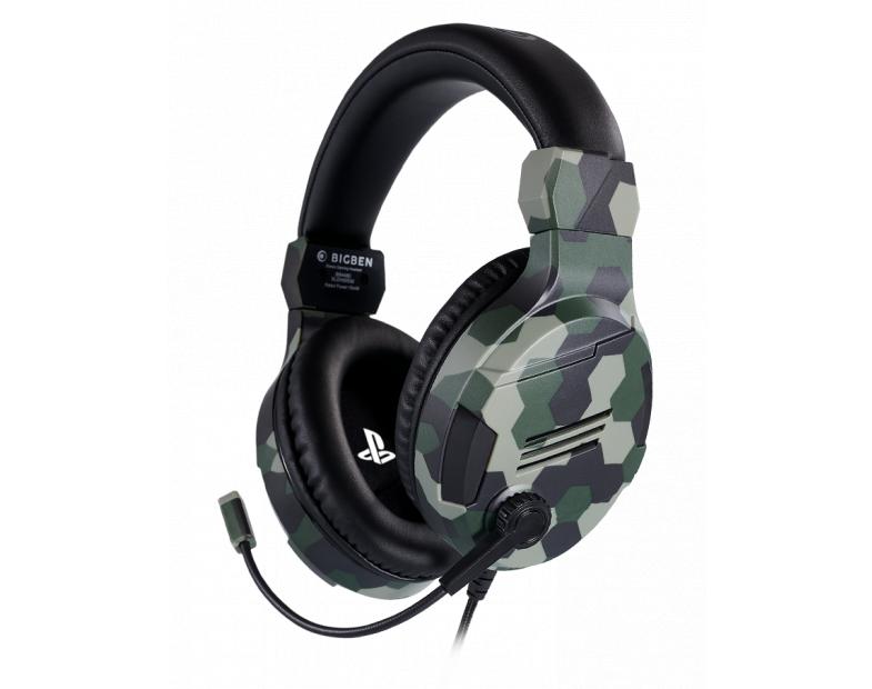 Геймърски слушалки Nacon Bigben PS4 Official Headset V3 Camo Green, Микрофон, Зелен