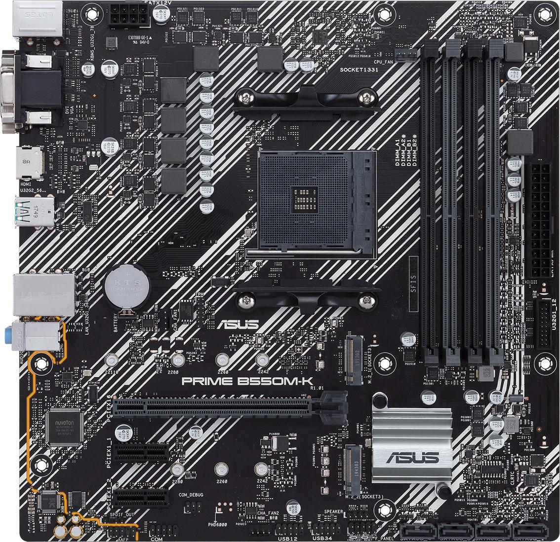 Дънна платка ASUS Prime B550M-K socket AM4, 4xDDR4, PCIe 4.0, Dual M.2