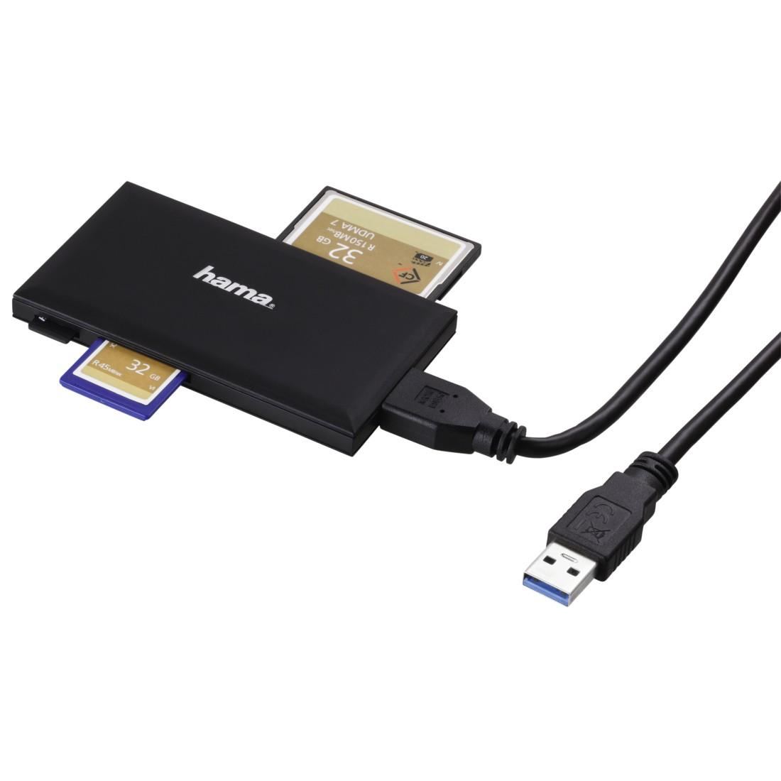 Четец за карти HAMA Multi-Card Reader, USB 3.0, SD/microSD/CF/MS, 5 Gbps, Черен-3