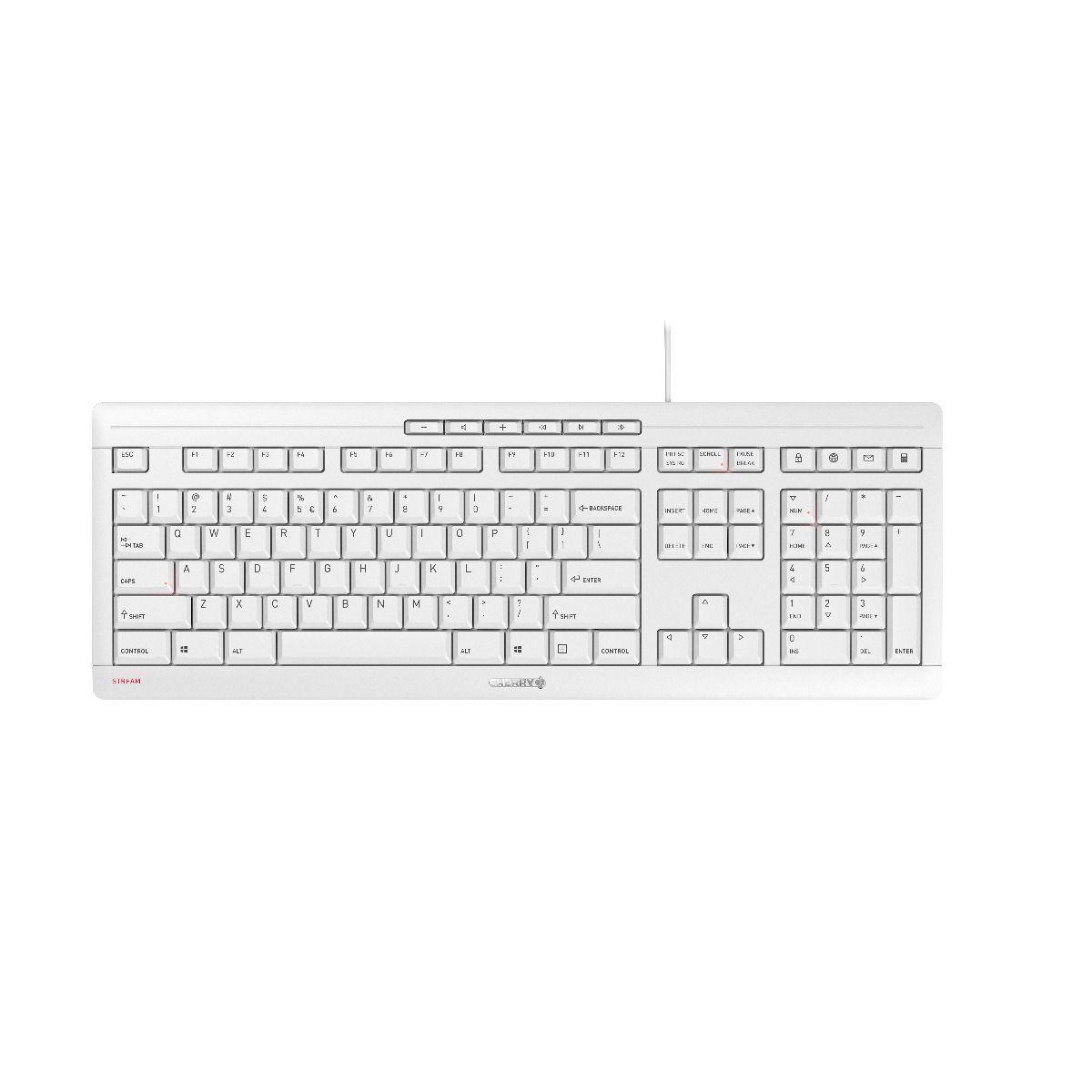 Жична клавиатура CHERRY STREAM, USB, Светло сив