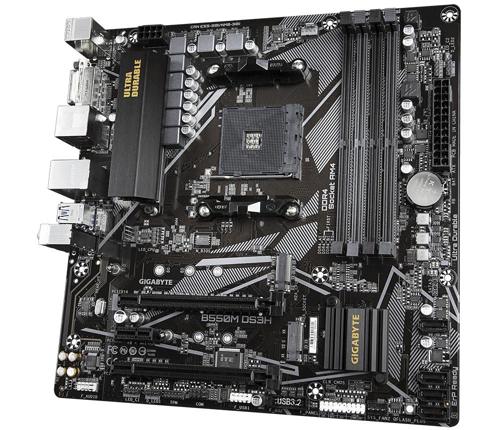 Дънна платка GIGABYTE B550M DS3H 1.x Socket AM4, 4 x DDR4-2
