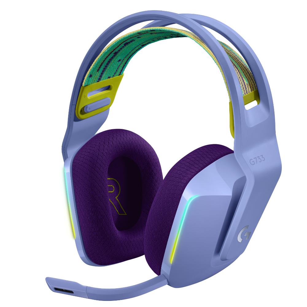 Геймърски слушалки Logitech G733 Lilac Lightspeed Wireless RGB, Микрофон, Лилави