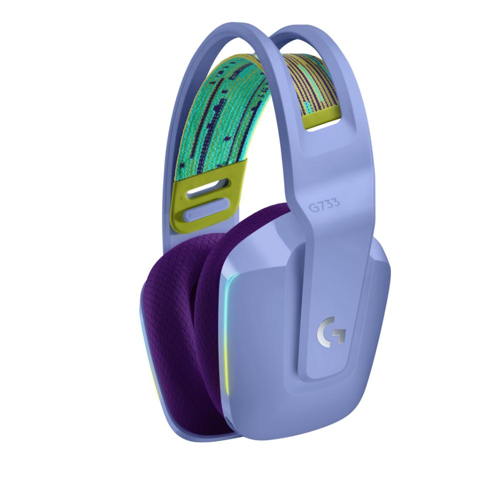 Геймърски слушалки Logitech G733 Lilac Lightspeed Wireless RGB, Микрофон, Лилави-2