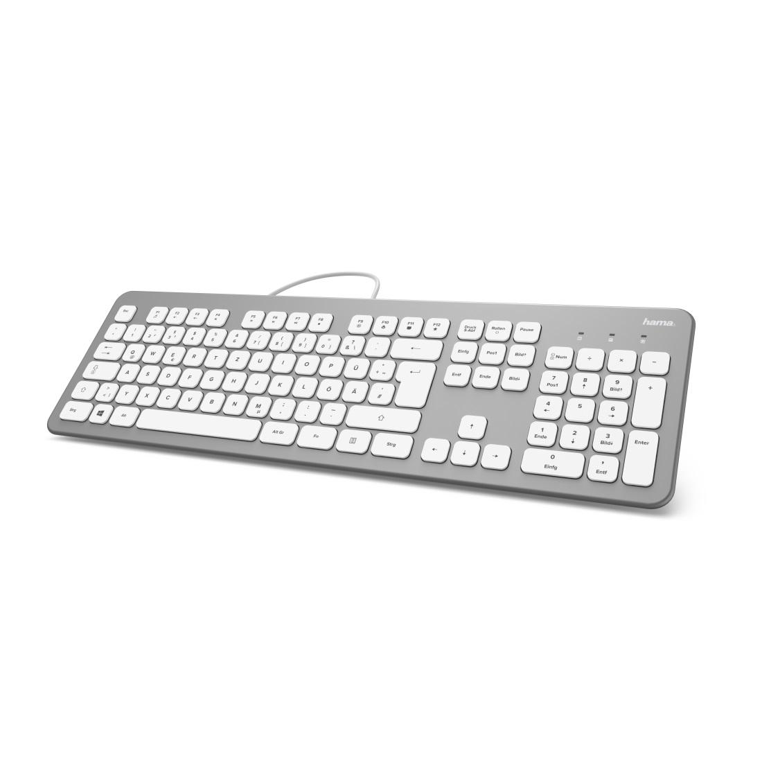 Клавиатура безшумна HAMA KC-700, с кабел, USB, кирилизирана, Сребрист/Бял