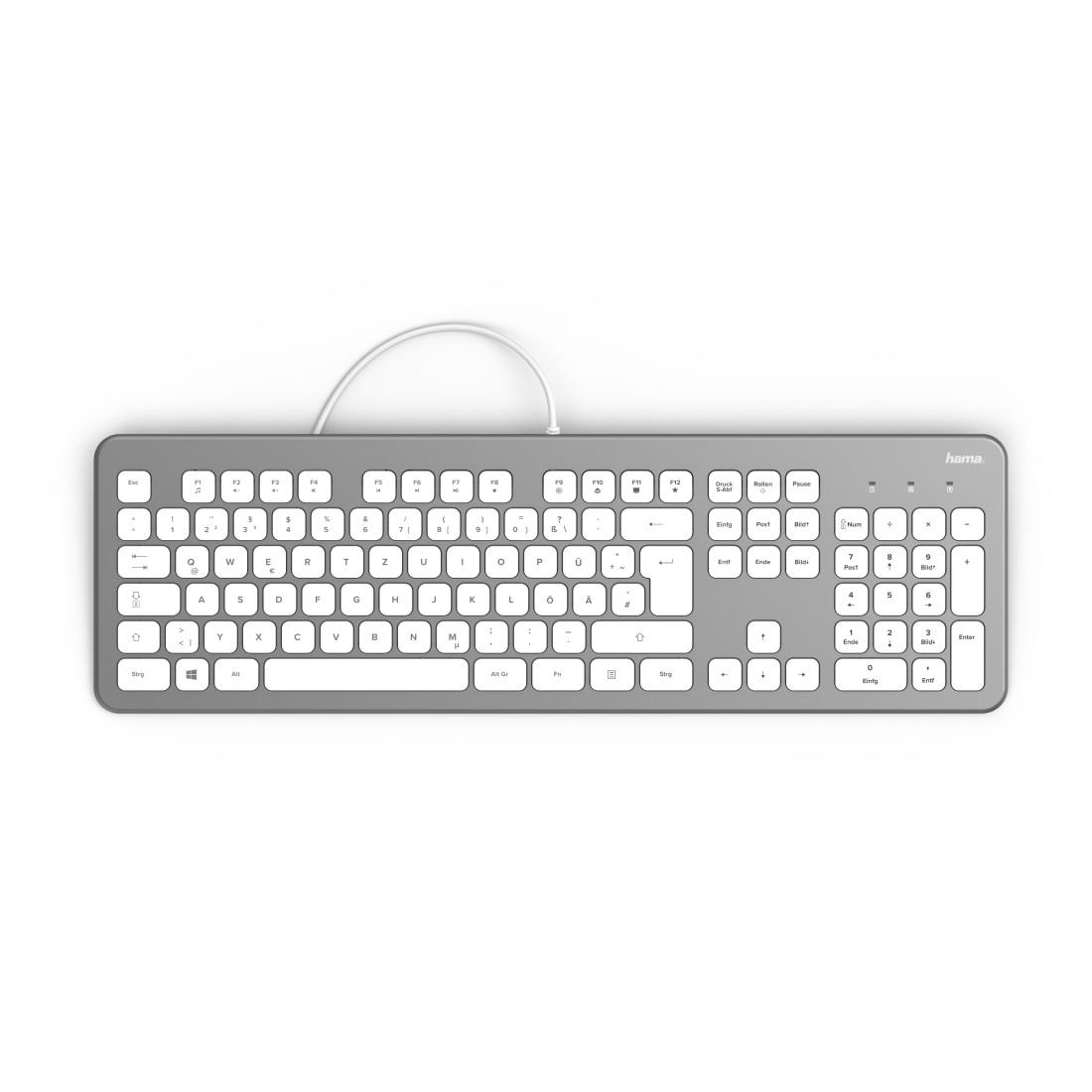 Клавиатура безшумна HAMA KC-700, с кабел, USB, кирилизирана, Сребрист/Бял-2