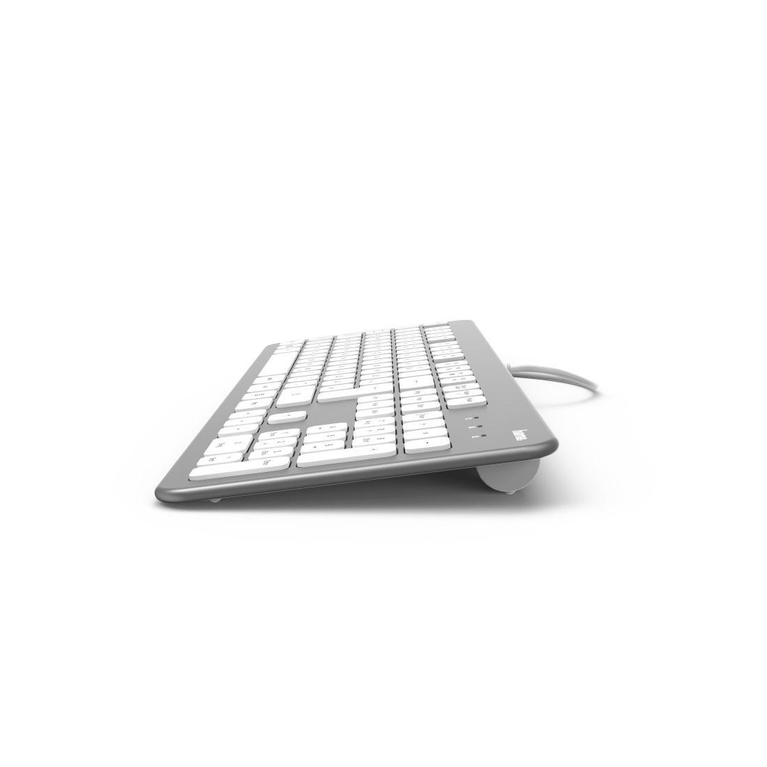 Клавиатура безшумна HAMA KC-700, с кабел, USB, кирилизирана, Сребрист/Бял-3