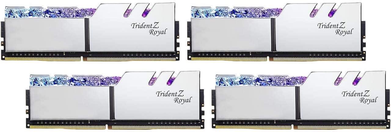 Памет G.SKILL Trident Z Royal Silver 64GB(4x16GB) DDR4 PC4-28800 3600MHz CL16 F4-3600C16Q-64GTRS