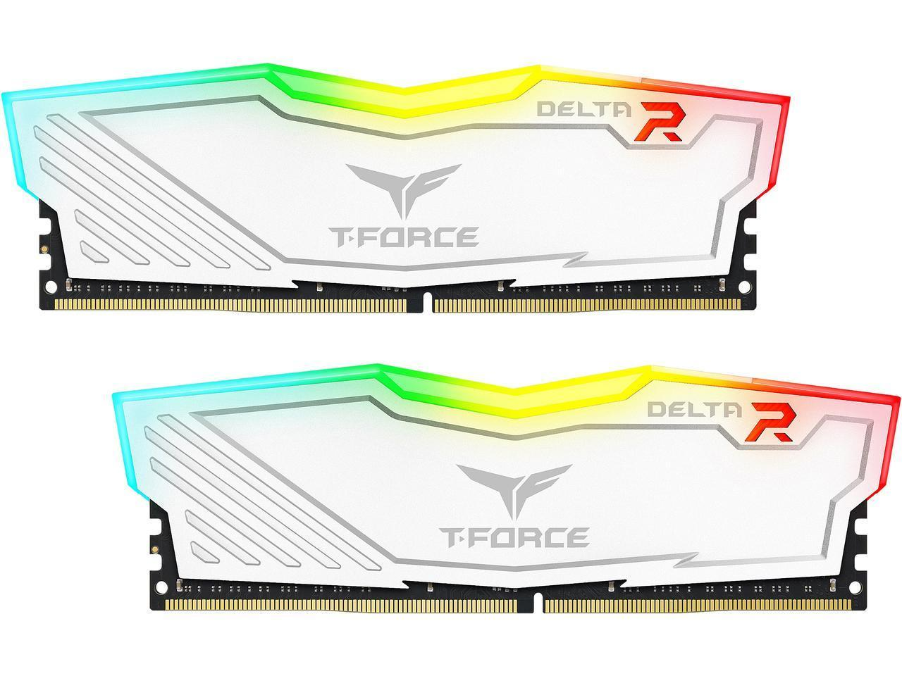 Памет Team Group T-Force Delta RGB White, DDR4, 32GB (2x16GB), 3600MHz, CL18-22-22-42, 1.35V