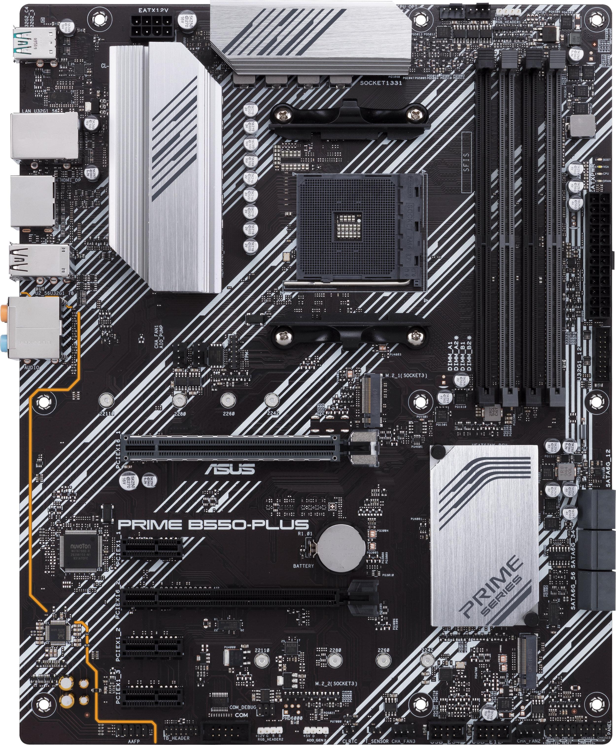 Дънна платка ASUS PRIME B550-PLUS socket AM4, 4xDDR4, Aura Sync, PCIe 4.0, Dual M.2