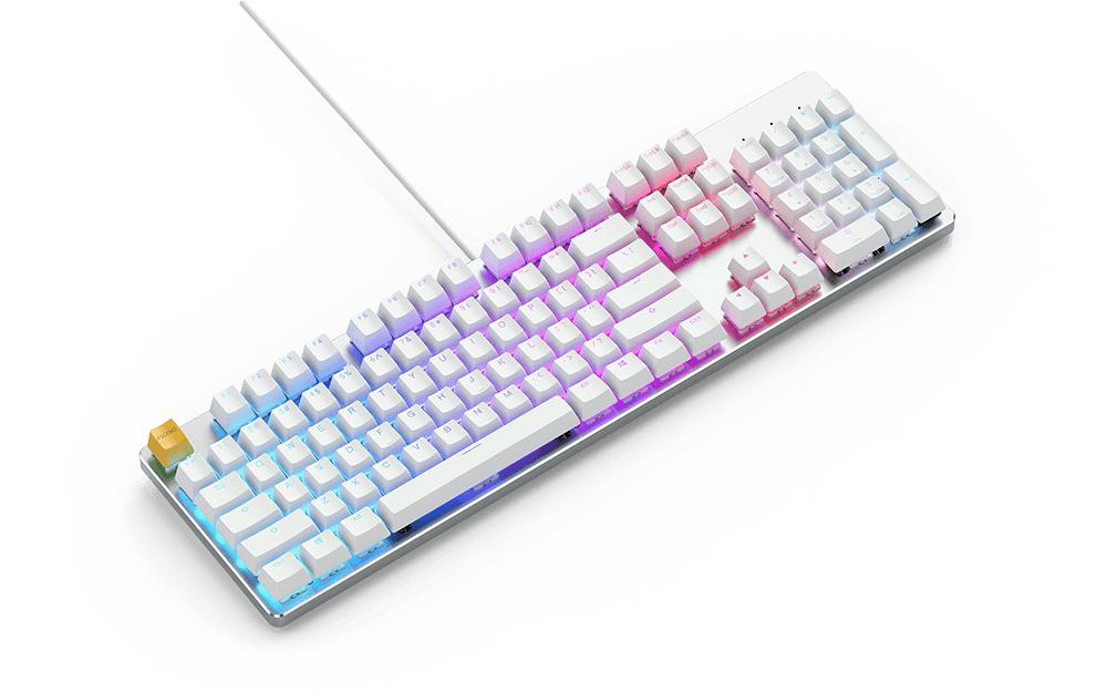 Геймърскa механична клавиатура Glorious White Ice GMMK RGB Full Size, Gateron Brown US Layout-2