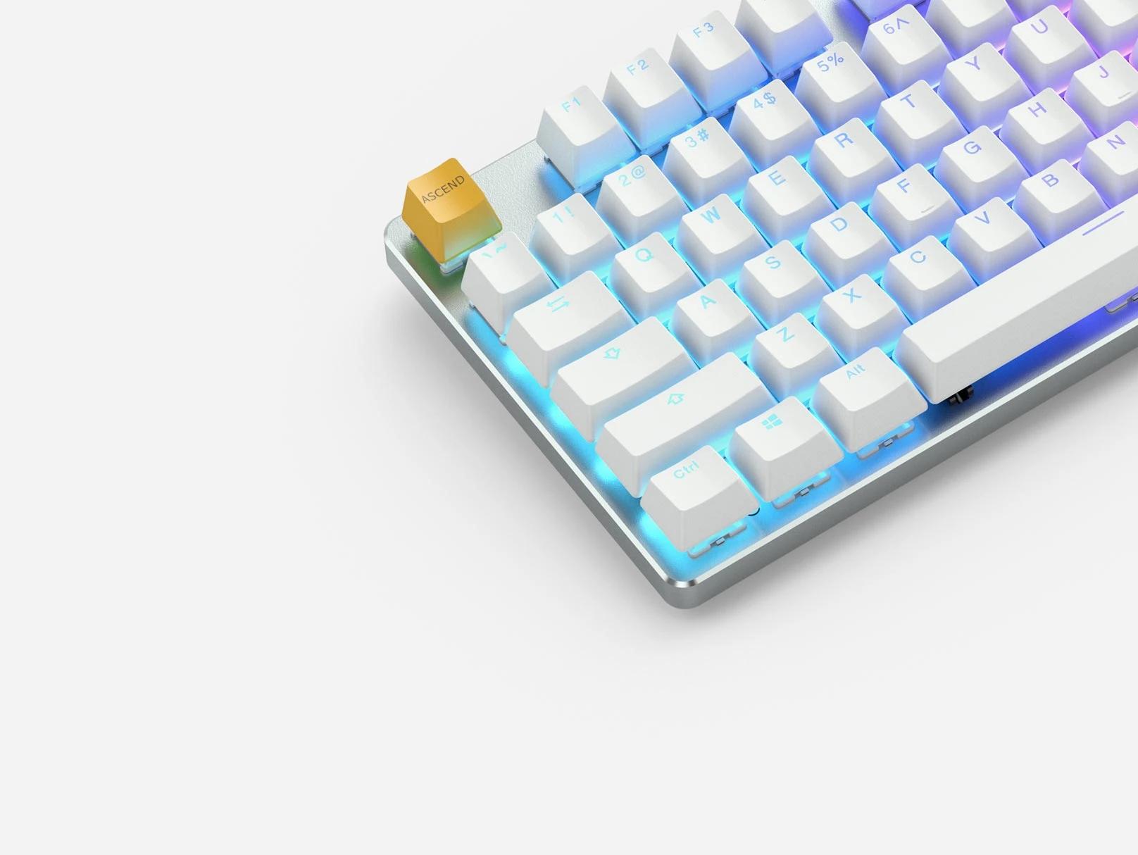 Геймърскa механична клавиатура Glorious White Ice GMMK RGB Full Size, Gateron Brown US Layout-3