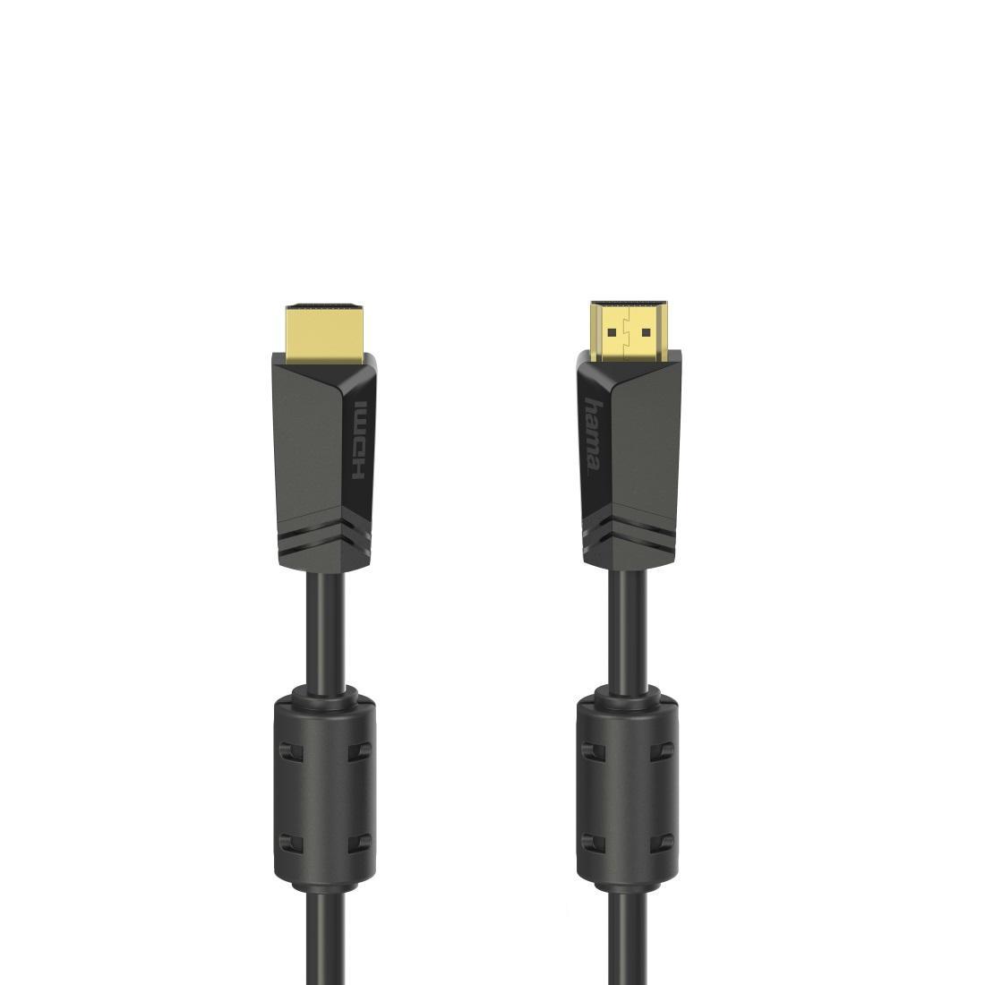 Кабел HAMA High-speed, HDMI мъжко - HDMI мъжко, 4K, 10.2GB/s, Ethernet, 15 м, Позл. конектори, 2 филтъра, Черен