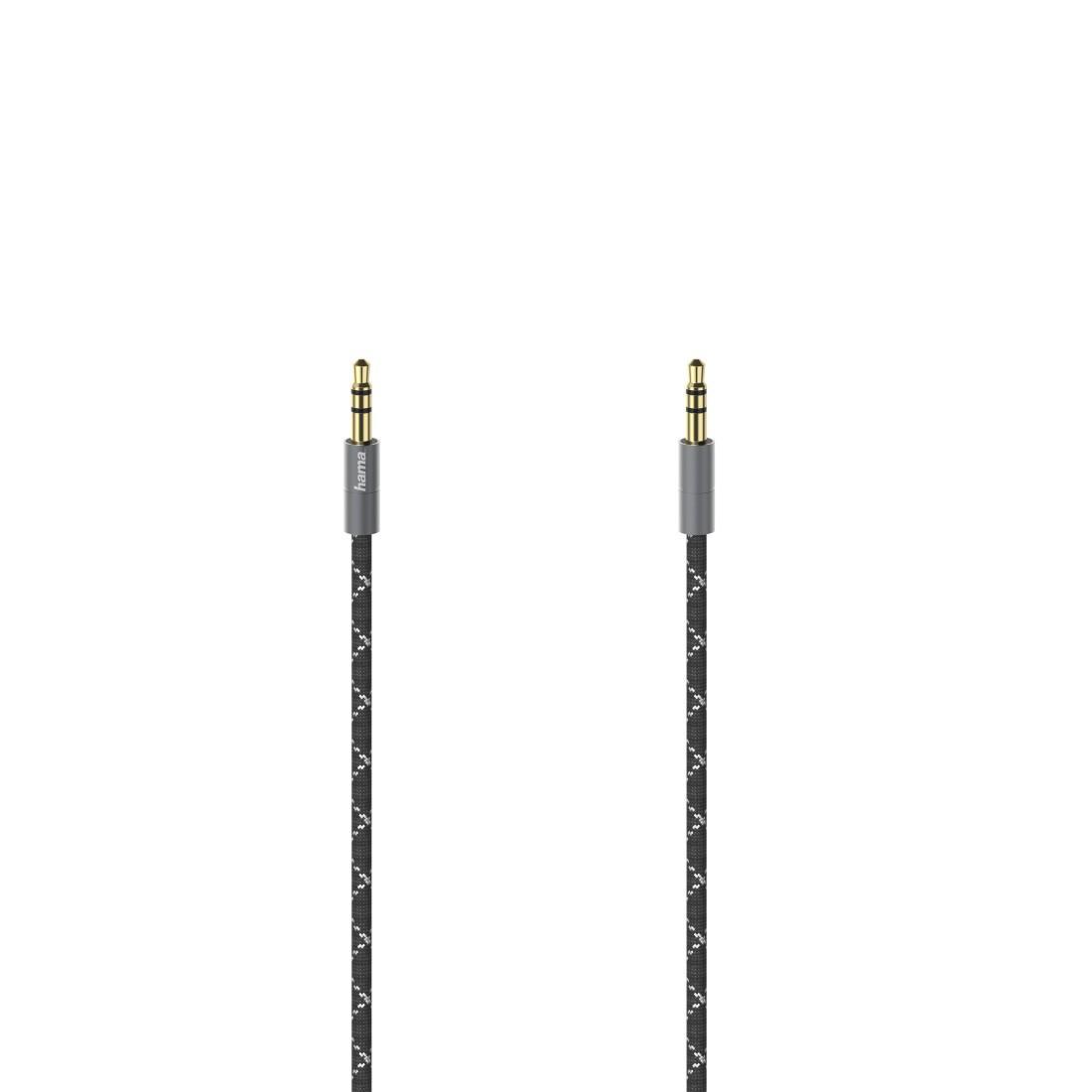 Аудио кабел HAMA 3.5мм стерео жак мъжко-мъжко,метал,позлатени конектори, 0.75м