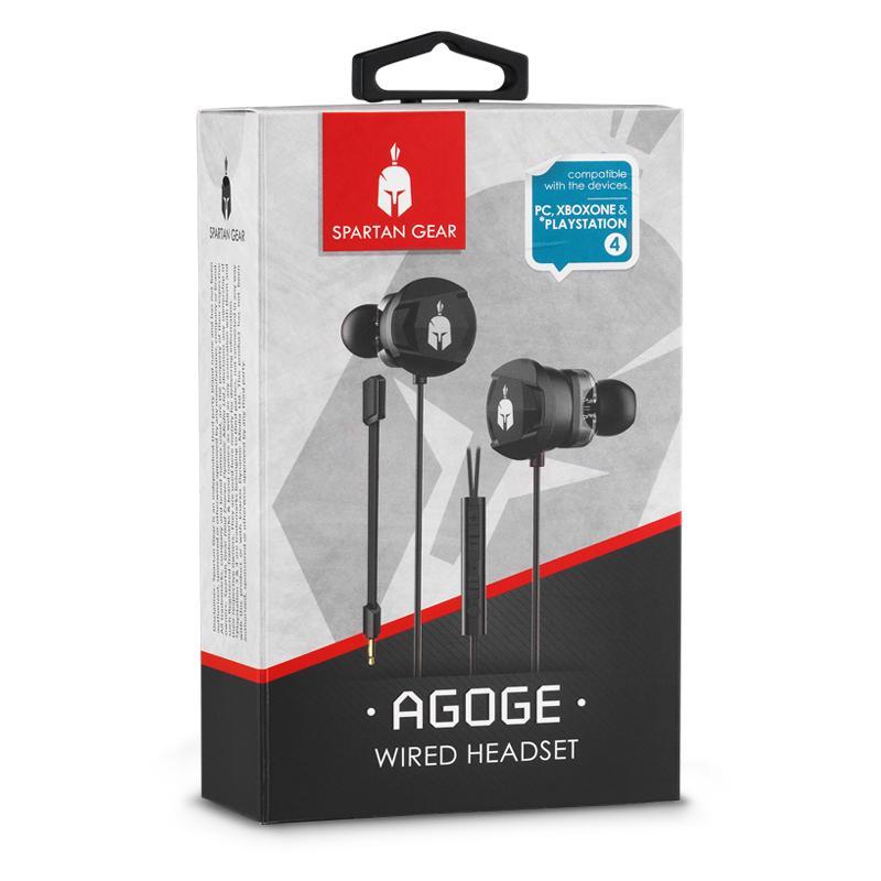 Геймърски слушалки тапи с микрофон Spartan Gear Agoge, Черен-4