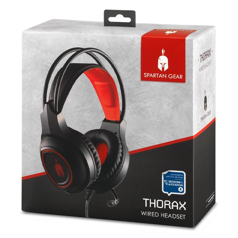 Геймърски слушалки Spartan Gear Thorax, Микрофон, Черен/Червен-4