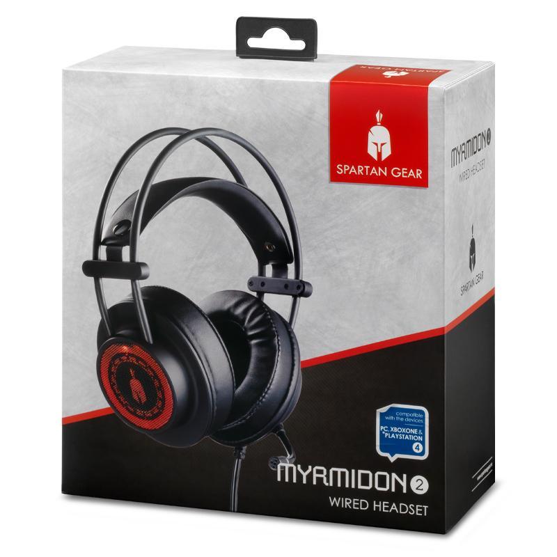 Геймърски слушалки Spartan Gear Myrmidon II, Микрофон, Черен/Червен-4
