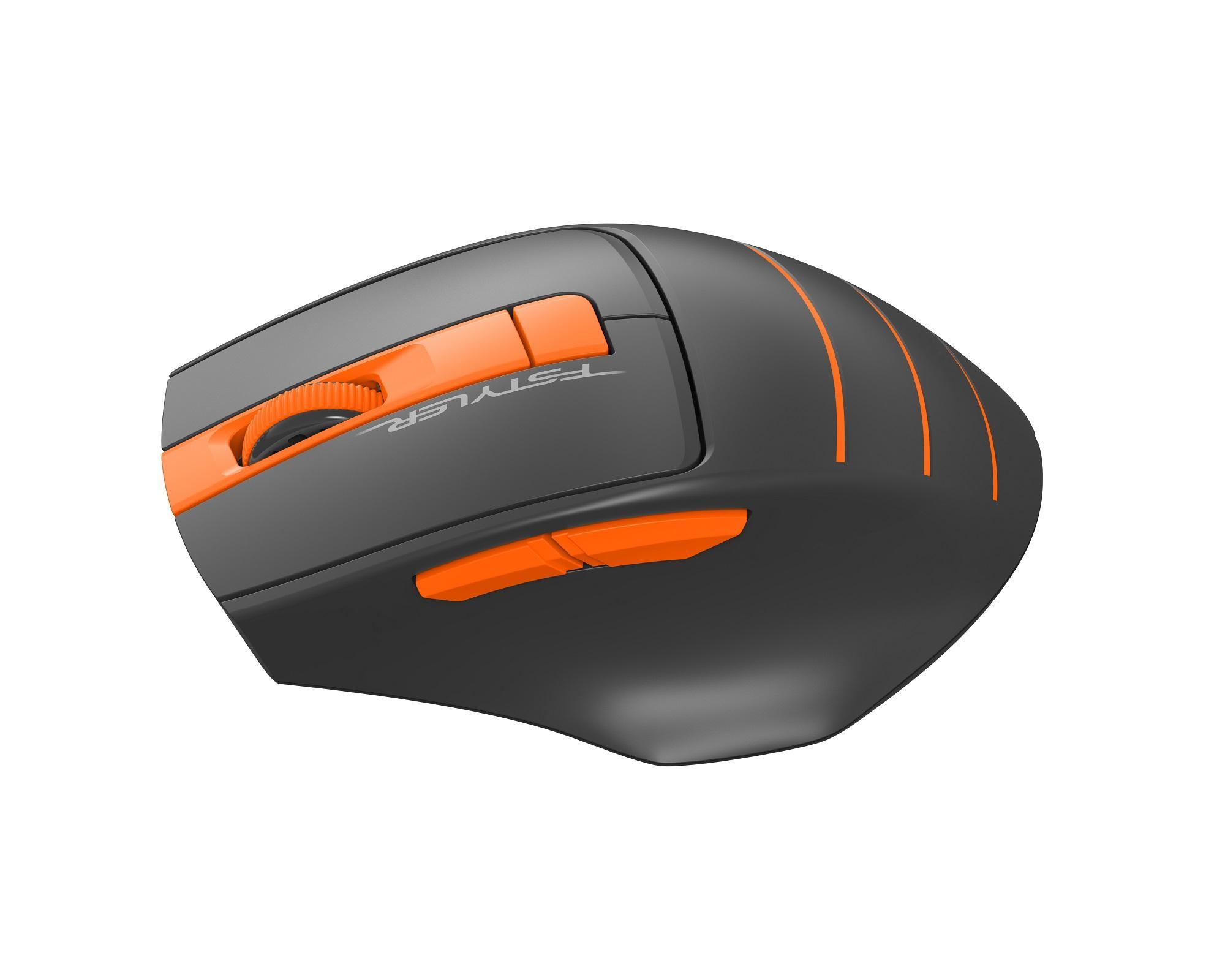 Оптична мишка A4tech FG30S Fstyler, безжична безшумна, Оранжев-2