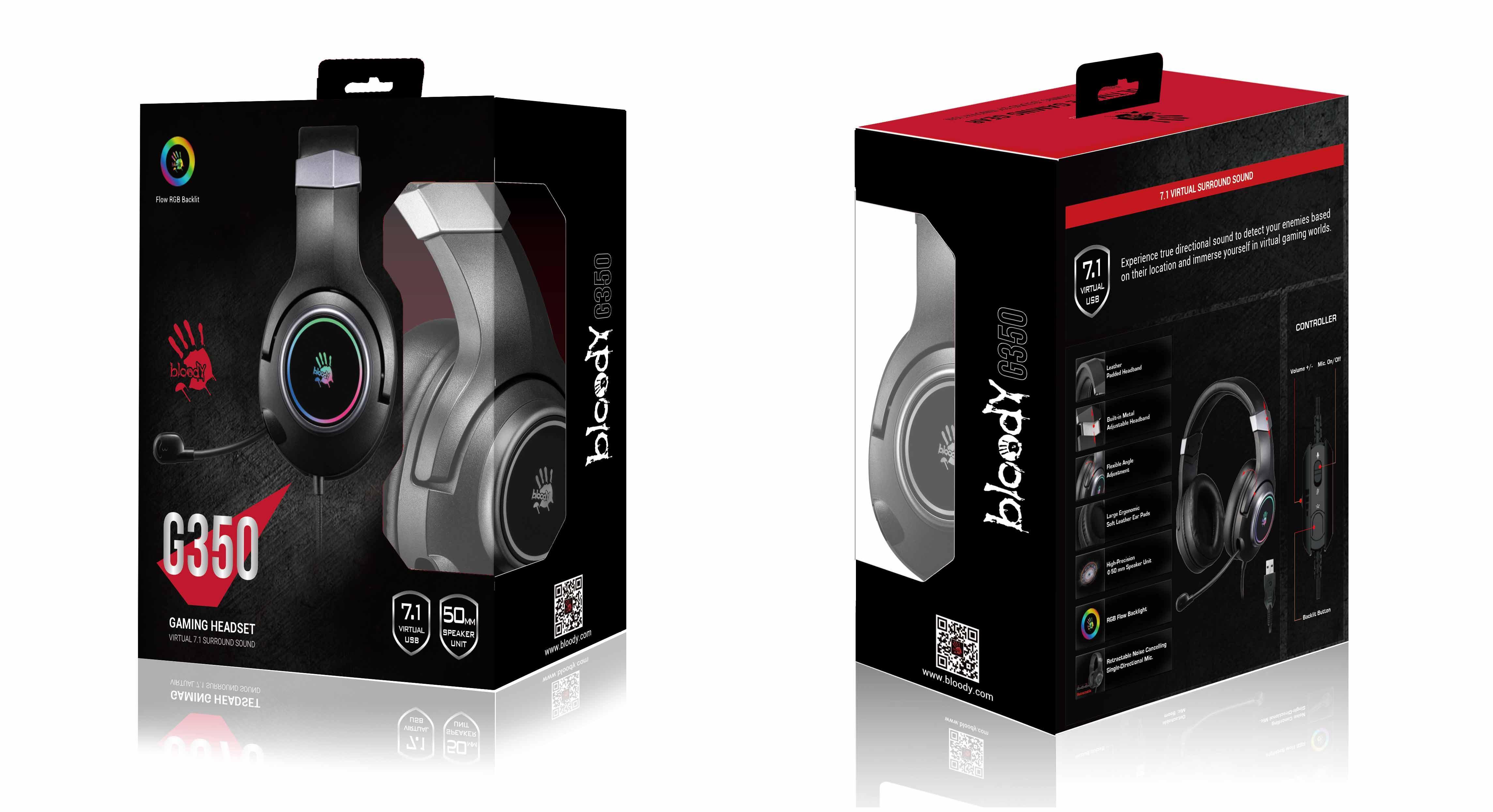 Геймърски слушалки A4TECH Bloody G350, Virtual 7.1, Микрофон, Черно-3