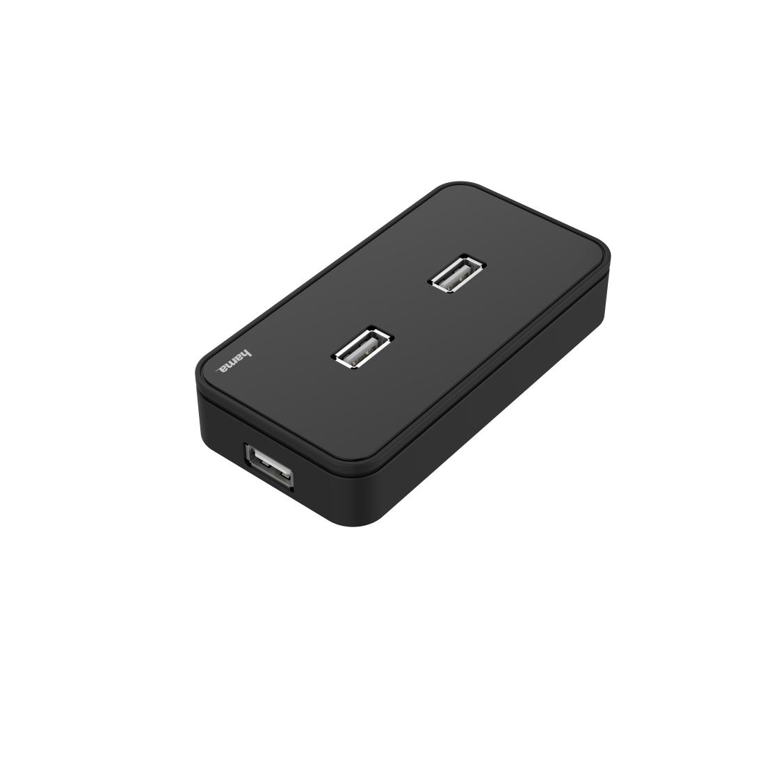 USB хъб със захранване HAMA, USB 2.0, 7-портов, 480 Mbit/s, Черен