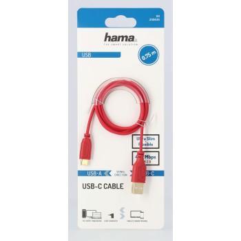 Кабел Hama Flexi-Slim USB-C - USB-A 2.0 мъжко, 0.75м,тънък, позлатен, червен-3