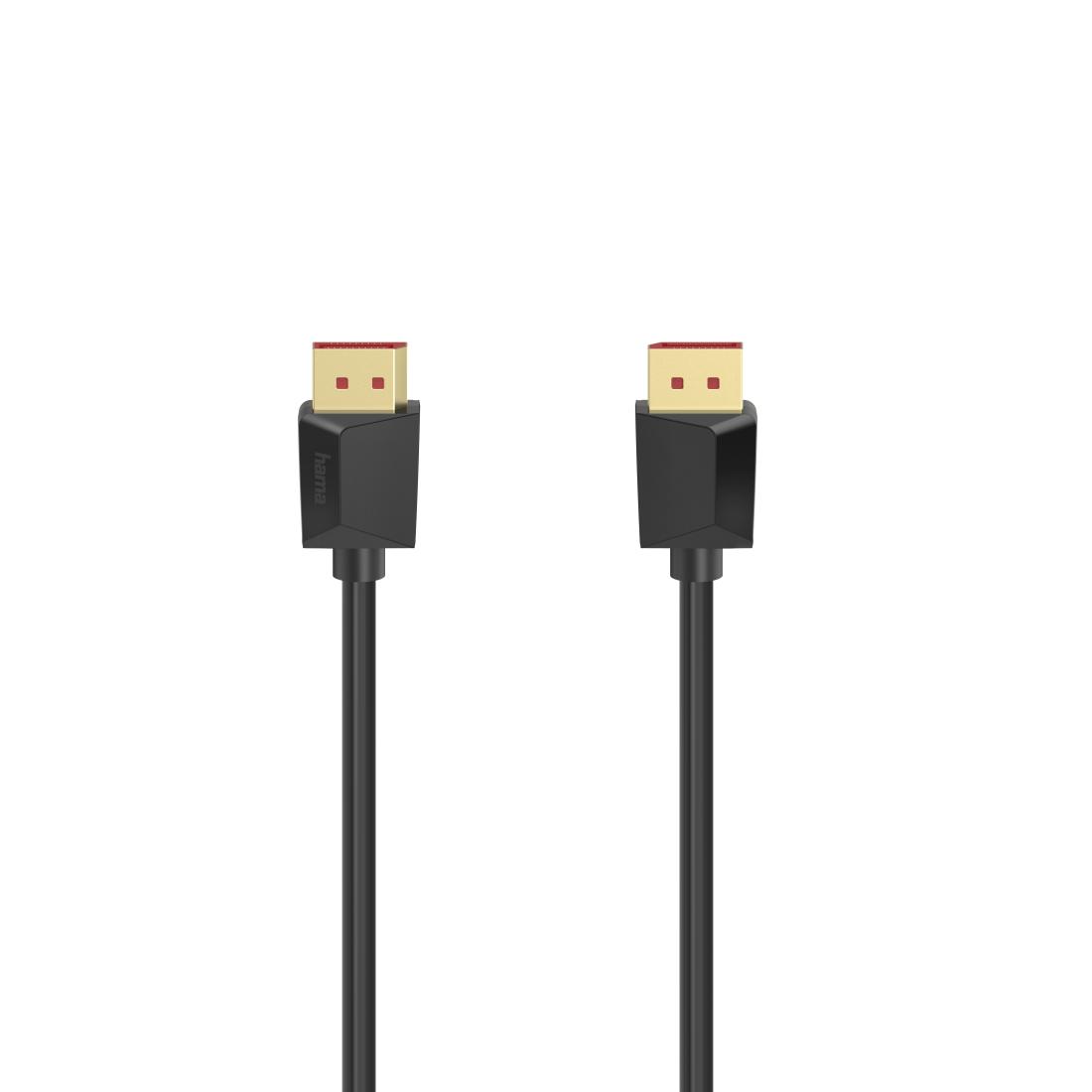 Кабел HAMA  DisplayPort 1.4 мъжко - DisplayPort 1.4 мъжко, 2 м, 8K Ultra HD, Позл.конектори, Черен