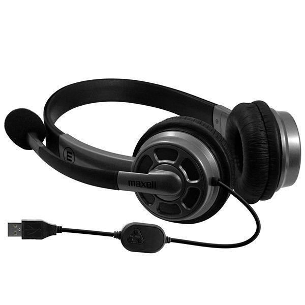 Слушалки с микрофон MAXELL HS-HMIC, Средно големи наушници, USB, Черен