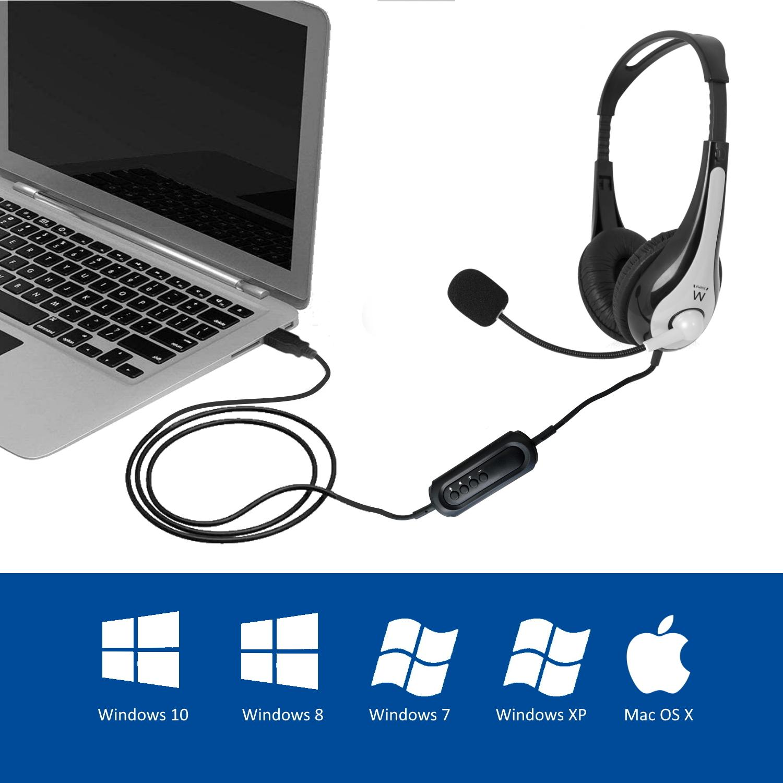 Слушалки Ewent EW3565, Микрофон, USB, 2.1м кабел, Сив/Черен-4