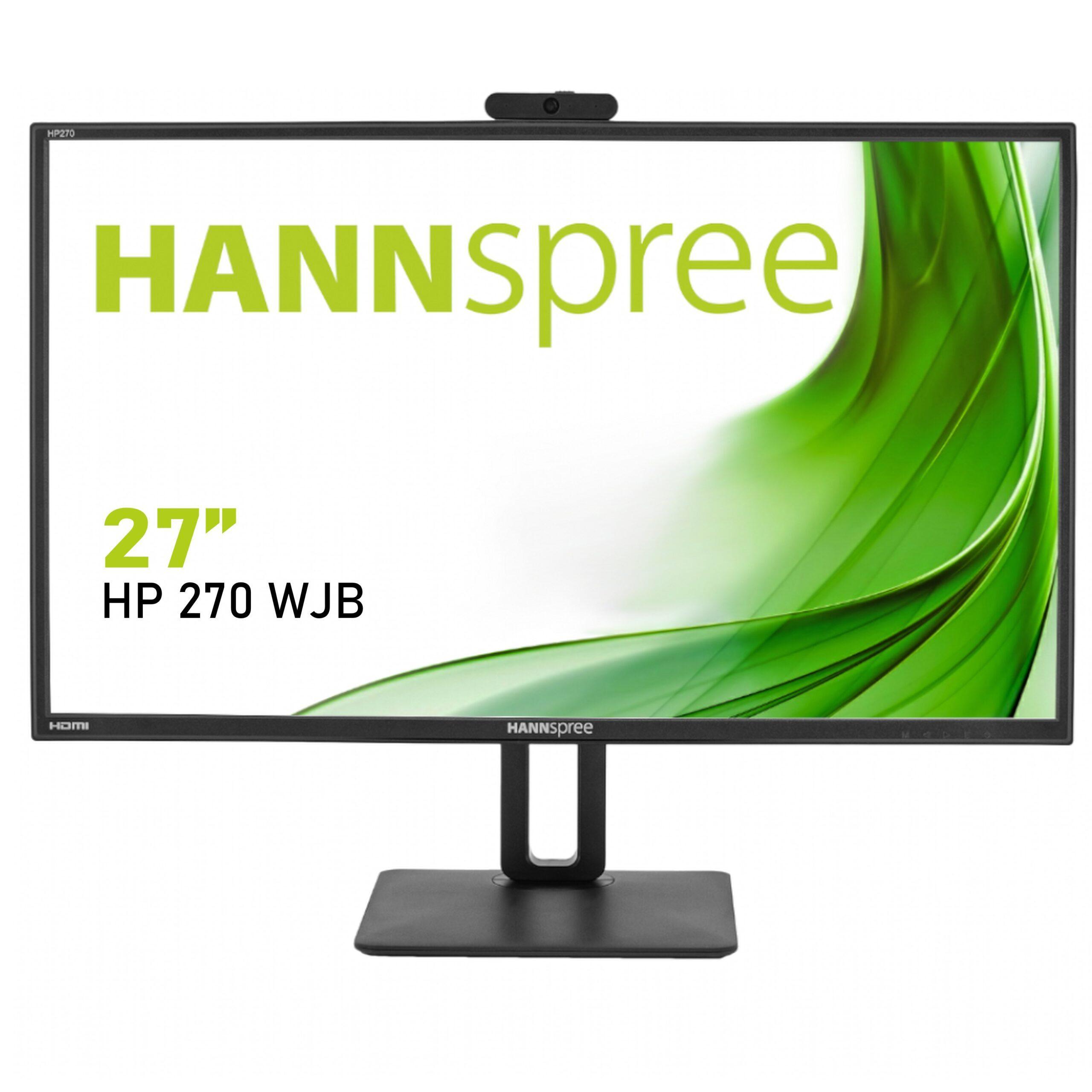 Монитор HANNSPREE HP248WJB, 27 inch, Wide, Full HD, 5 mpix вградена камера, D-Sub, HDMI, DP, Черен