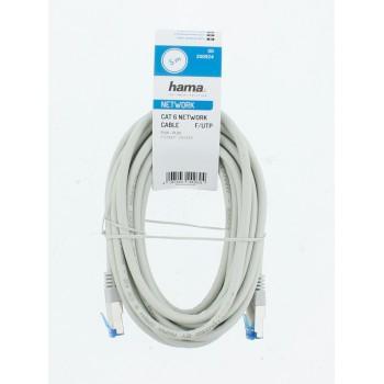 Мрежов пач кабел HAMA F/UTP, CAT 6, RJ-45 - RJ-45, 1Gbit/s, 5.0 m, Сив, Булк-3