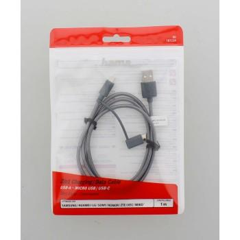 Кабел HAMA 2 в 1, USB-A мъжко - Micro USB мъжко, Адаптер USB-C, 1.0 м., Сив-2