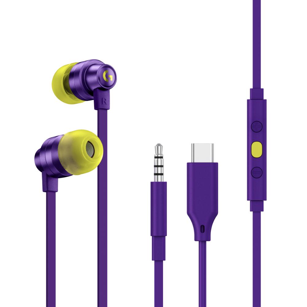Геймърски слушалки с микрофон Logitech G333 In-ear 3.5 mm + USB-C adapter, тапи жични, лилави
