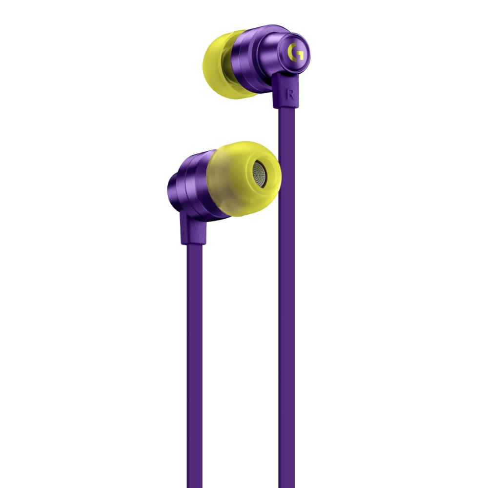 Геймърски слушалки с микрофон Logitech G333 In-ear 3.5 mm + USB-C adapter, тапи жични, лилави-2