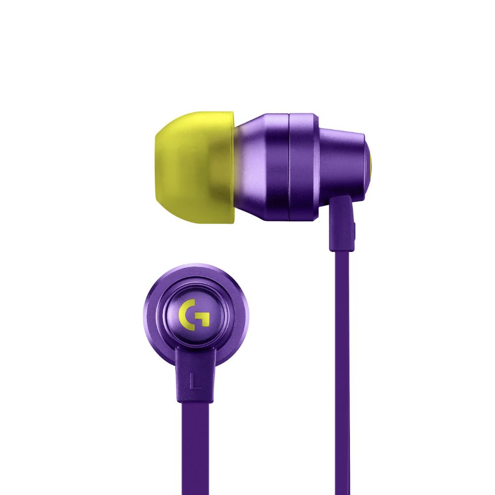 Геймърски слушалки с микрофон Logitech G333 In-ear 3.5 mm + USB-C adapter, тапи жични, лилави-3