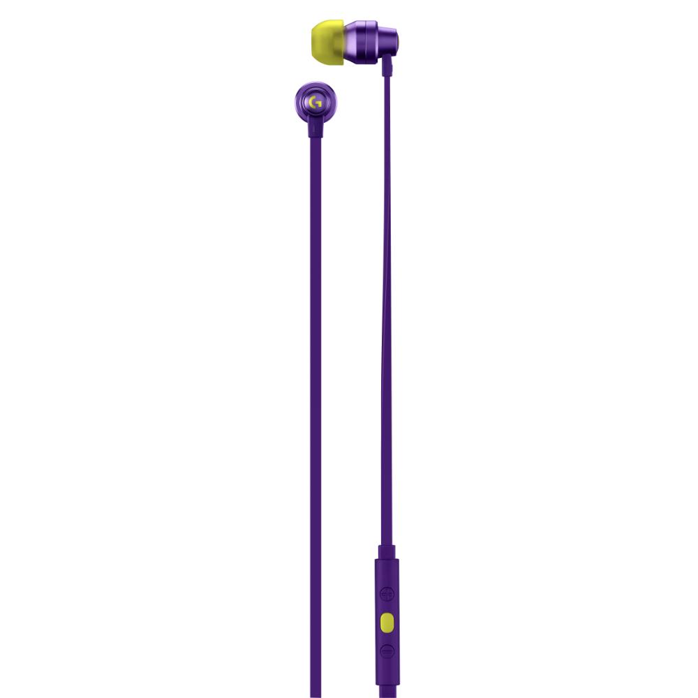 Геймърски слушалки с микрофон Logitech G333 In-ear 3.5 mm + USB-C adapter, тапи жични, лилави-4