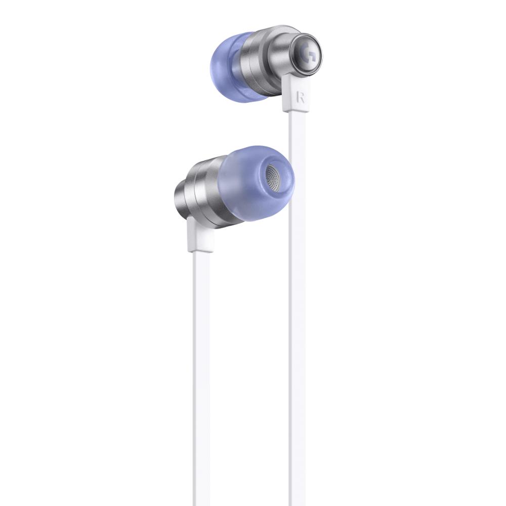 Геймърски слушалки с микрофон Logitech G333 In-ear 3.5 mm + USB-C adapter, тапи жични, бели-2