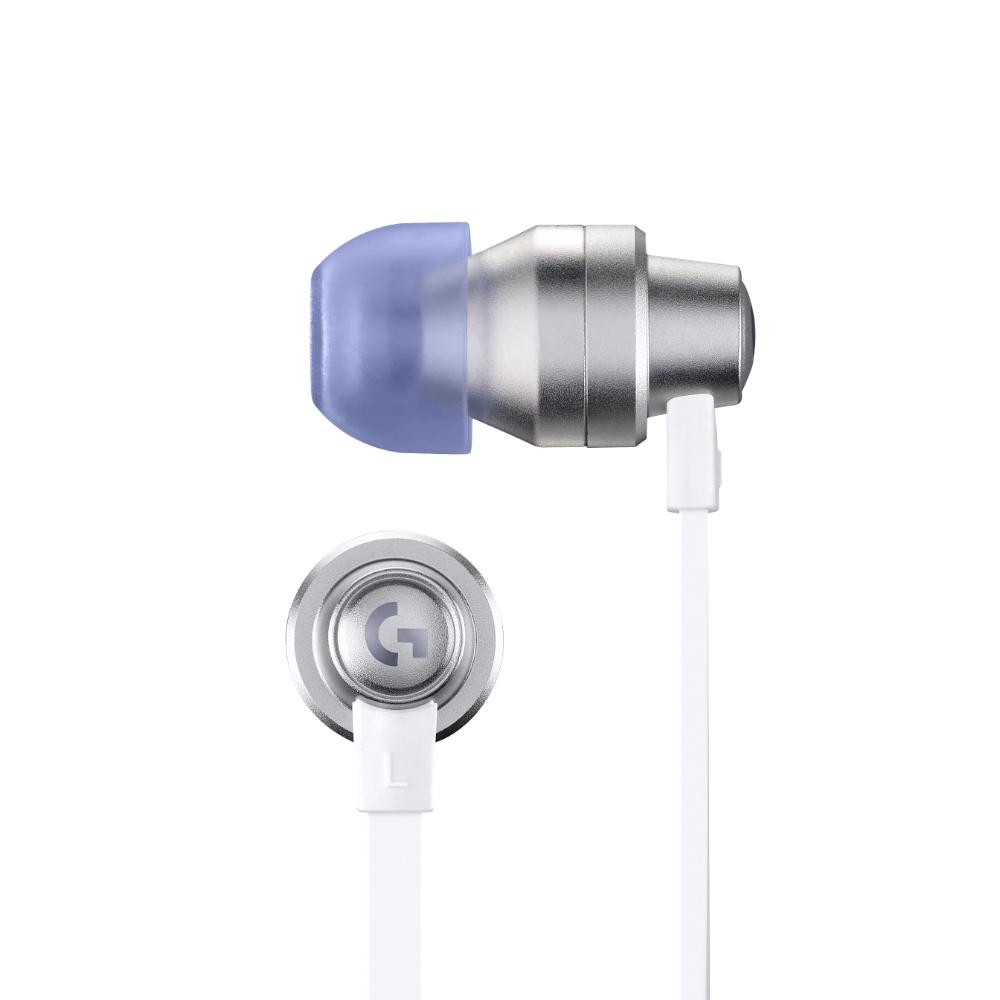 Геймърски слушалки с микрофон Logitech G333 In-ear 3.5 mm + USB-C adapter, тапи жични, бели-3