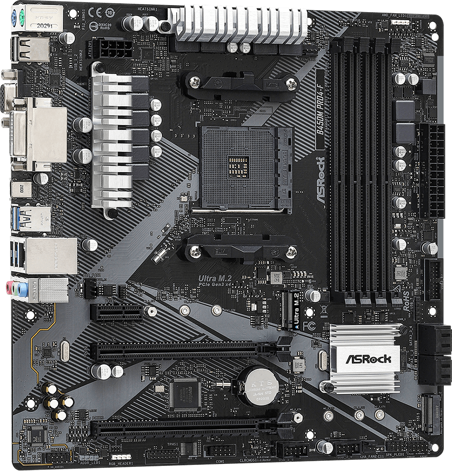 Дънна платка ASRock B450M Pro4-F R2.0, Micro ATX, HDMI, DVI-D, D-Sub, USB Type-C-2