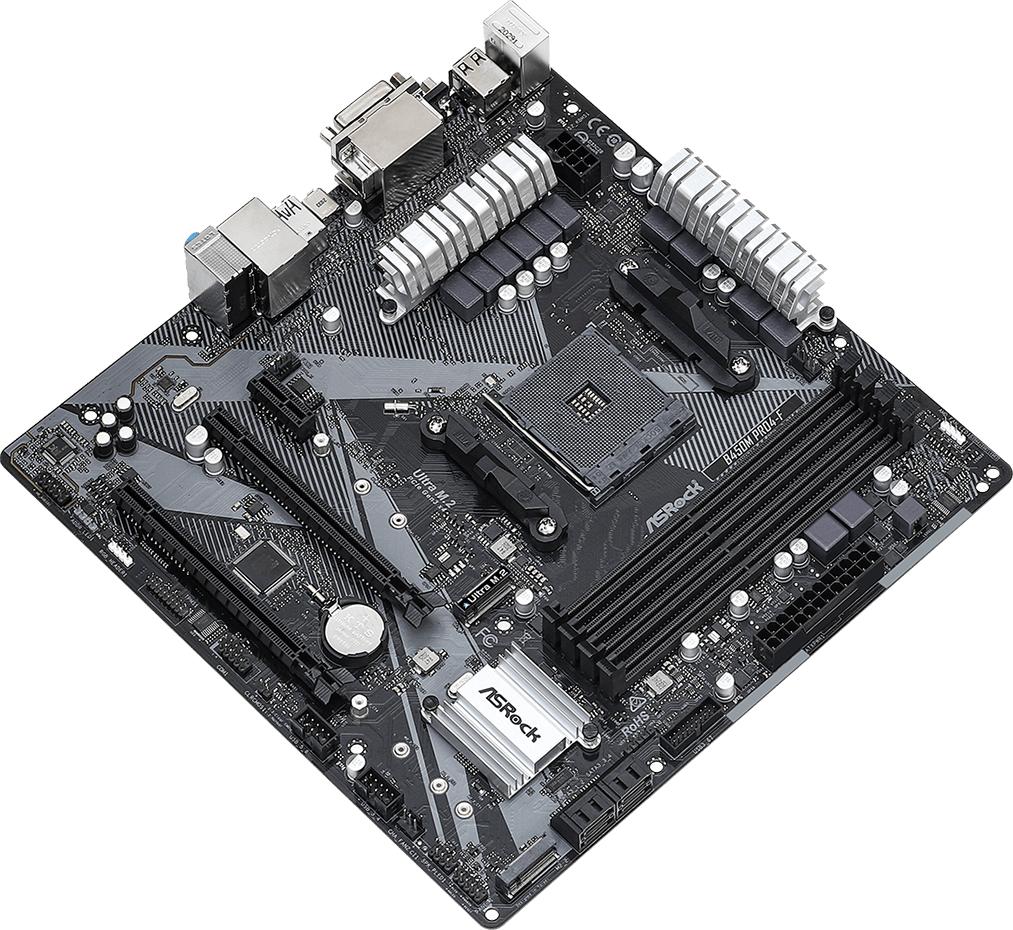 Дънна платка ASRock B450M Pro4-F R2.0, Micro ATX, HDMI, DVI-D, D-Sub, USB Type-C-3