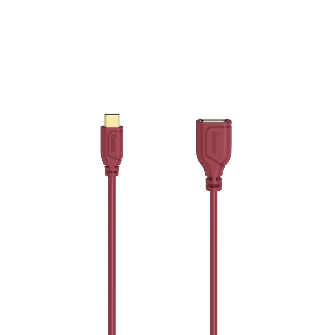 Адаптер HAMA Flexi-Slim, USB-C мъжко - USB 2.0 женско, OTG, 0.15 м., Позлатени конектори, Червен