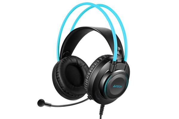 Слушалки с микрофон A4TECH Fstyler FH200U, Стерео, USB, Черен/Син